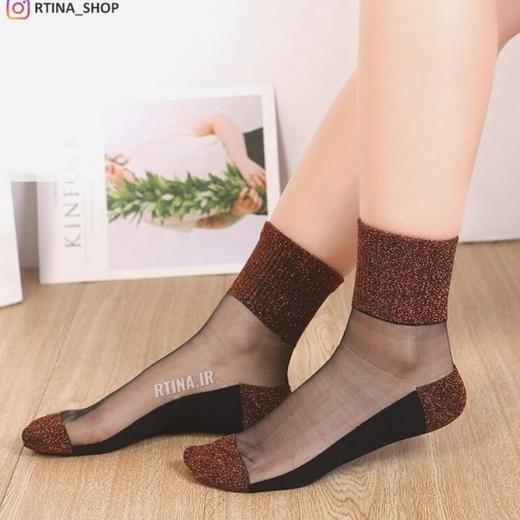 جوراب لمه رنگ نقره ای و قهوه ای انتزاعی