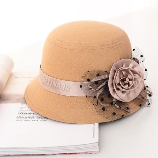 کلاه لبه دار شهرزادی گل ساتن طرح 1