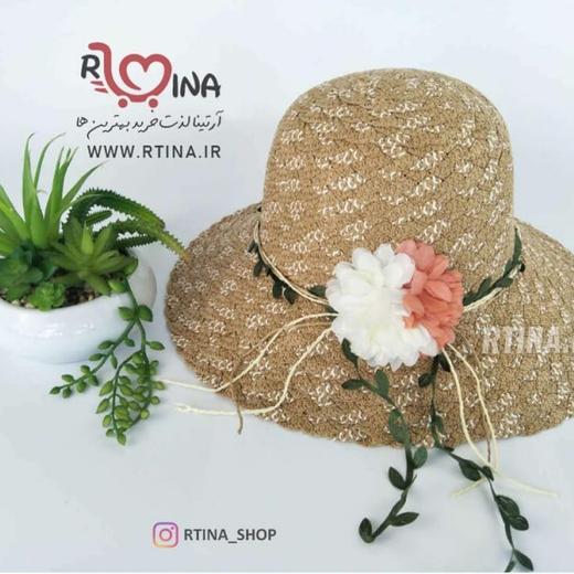 کلاه لبه دار حصیری گل دار