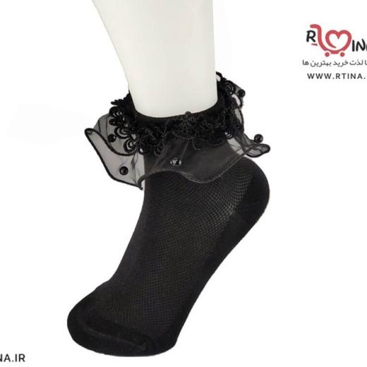 جوراب دخترانه مدل لب توری فریم دار APA01