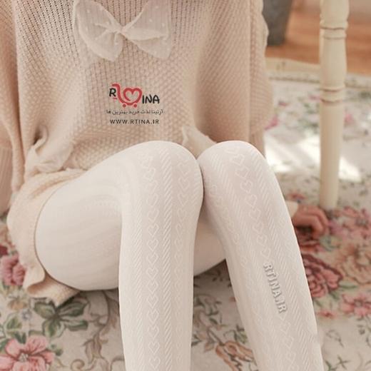جوراب شلواری جدید طرح قلبی دخترانه کد ap202