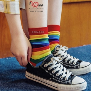 جوراب رنگین کمانی دخترانه