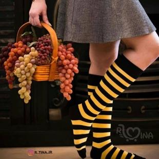 عکس جوراب بلند راه راه زرد مشکی