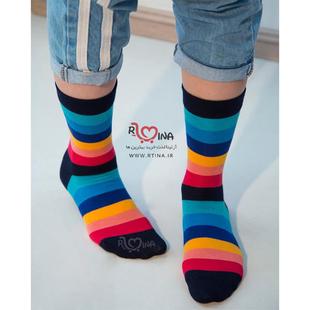جوراب ساق دار و مچی طرح رنگین کمانی