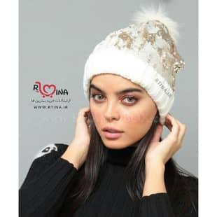 کلاه پولکی دخترانه پوم دار بافتنی