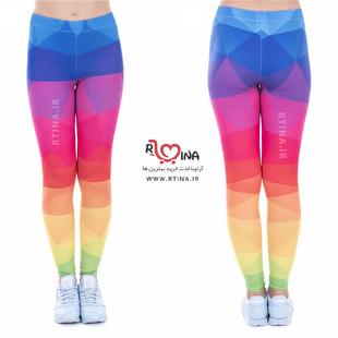شلوار لگ براق ورزشی زنانه رنگین کمانی مدل آپا 5