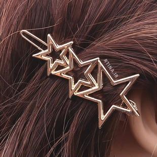گیره مو فلزی هندسی مدل سه ستاره