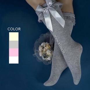جوراب بلند دخترانه مدل لب تور