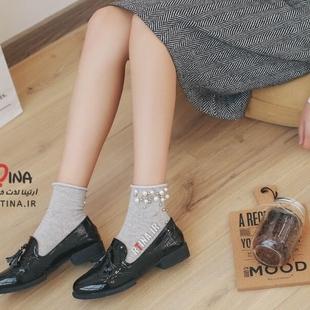 جوراب زنانه مدل مروارید لبه گرد