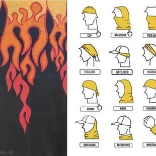 دستمال سر و گردن طرح شعله آتش