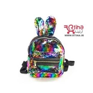کیف کوله پشتی گوش دار پولکی هفت رنگ