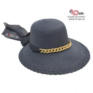 کلاه گرد لبه دار دخترانه مدل ساحلی آویز دار