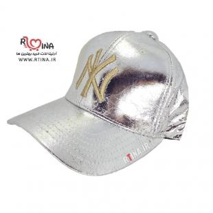 کلاه دخترانه چرم نقره ای