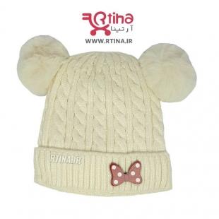 کلاه بچه گانه دخترانه بافت رنگ شیری