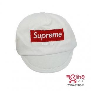 کلاه بند دار پسرانه دو لایه سفید