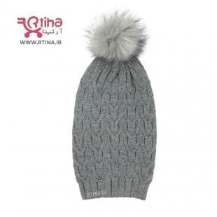 کلاه پوم پوم بافتنی خاکستری
