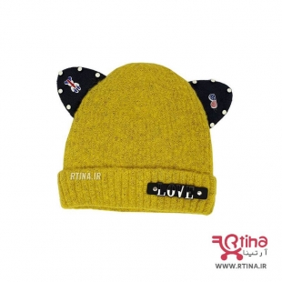 کلاه بافت زرد دخترانه پسرانه