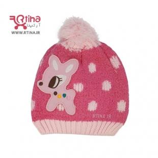 کلاه زمستانی بافتنی دخترانه رنگ صورتی