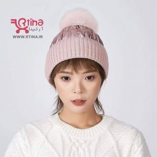 کلاه زمستانه صورتی بافتنی