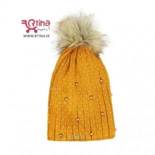 کلاه بافت خردلی زنانه