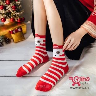 جوراب نخی(فانتزی-عروسکی) قرمز راه راه مدل Christmas1