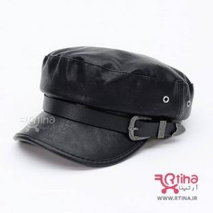 کلاه چرم اسپرت زنانه مشکی