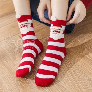 جوراب بابانوئلی زنانه قرمز مدل RTS2