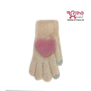 خرید دستکش بافتنی زنانه کرم رنگ
