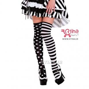 جوراب ساق دار زنانه مدل تا به تا Dot-Striped