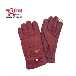 خرید دستکش زرشکی زنانه زمستان