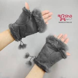 دستکش زنانه و دخترانه نیم انگشتی خزدار