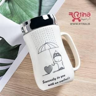 لیوان سرامیکی درب دار مدل Umbrella