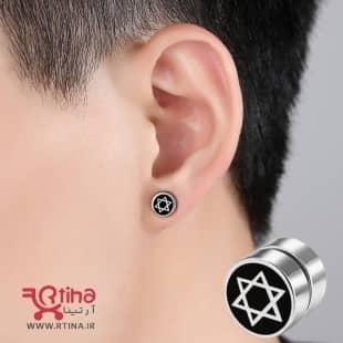 گوشواره آهنربایی دخترانه-پسرانه طرح ستاره 6 گوش