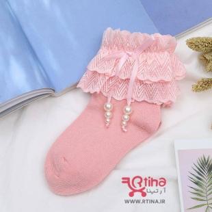 جوراب دخترانه مدل لب تور مرواریدی QIUBO