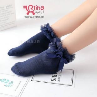 جوراب سورمه ای دخترانه پاپیونی