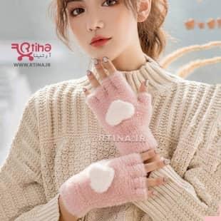 دستکش بافت بدون انگشت (زنانه و دخترانه) مدل LOVE-HEART