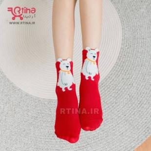 جوراب خرسی دخترانه قرمز