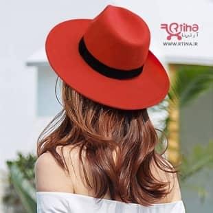 کلاه شاپو لبه پهن قرمز کد RT-714