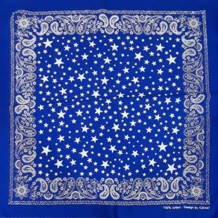 دستمال سر دخترانه رنگ آبی طرح ترمه و ستاره
