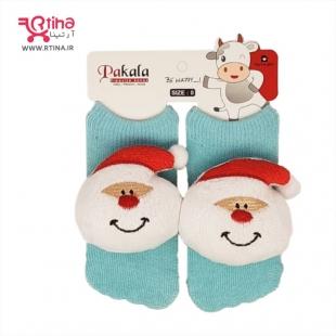 جوراب نوزادی عروسکی مدل بابانوئل آبی