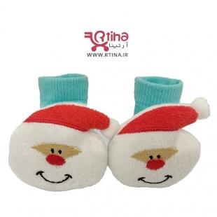 جوراب نوزادی عروسکی مدل بابانوئلی