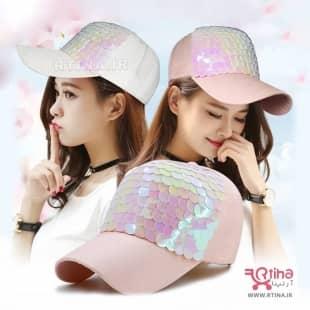 مدل جدید کلاه کپ دخترانه پولکی