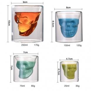 لیوان شیشه ای طرح اسکلت