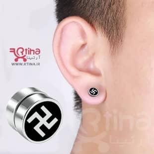 گوشواره (پیرسینگ گوش پسر و دختر) مگنتی طرح سواستیکا