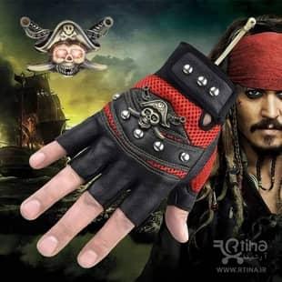 دستکش بدون انگشت اسپرت مدل اسکلتی- دزد دریایی