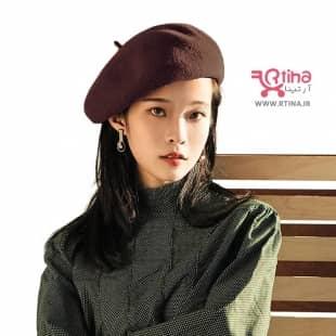 کلاه برت زنانه (فرانسوی) رنگ قهوه ای تیره