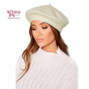 کلاه برت مدل کلاه فرانسوی زنانه و دخترانه رنگ شیری