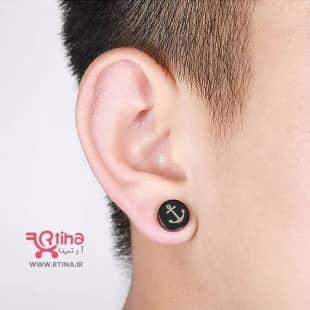 گوشواره مگنتی مشکی مردانه و زنانه طرح لنگر