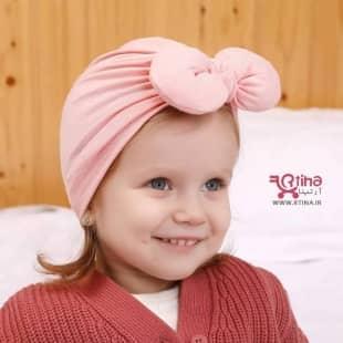 توربان نوزادی دخترانه مدل پاپیون دار