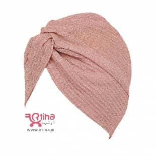 کلاه مجلسی زنانه با حجاب (کلاه توربان مجلسی لمه صورتی)